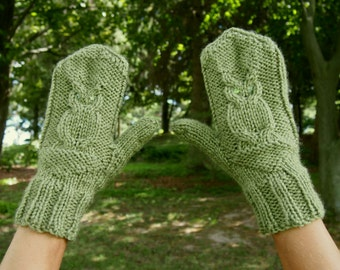 Green Knit Owl Mittens with Sequins - Adorable Green Knitted Mittens - Vegan Knit Mitts with Owls - Green Owl Mitts - Vegan Mittens