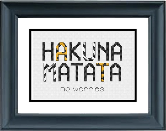 Hakuna Matata The Lion King Disney PDF Cross-Stitch