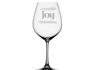Joy  Etched Wine Glass