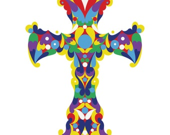 Deco Cross. Cross Stitch pattern, Digital Download PDF. Geometric design of a beautiful decorative cross. Bright and colorful.