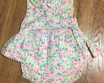 """Vintage Baby Girl Romper, """"Cuties By Judy"""" summer pink romper, 6-9 months floral one piece outfit"""