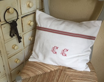 -Style de campagne Français - brodé rouge - de housse de coussin en lin Français Tourchon Shabby Chic