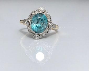 Antique ~ Art Deco ~ Blue Zircon and Diamond Ring ~ 14ct K ~ Art Deco ~ size UK P.5 or US 7.75