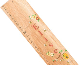 Personalized Bumble Bee Growth Chart in Natural Wood Honey Bees Wooden Growth Charts Children's Wood Ruler Baby Nursery Honeycomb Hive Decor
