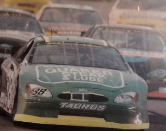 framed and matted nascar photo