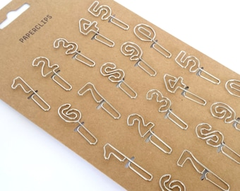 Set of 20 number Paperclips / planner clips