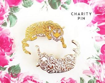 Floral Tiger - Hard enamel pin - bengal tiger lapel pin, cute tiger enamel pin, bengal tiger pin, white tiger pin, white tiger enamel pin