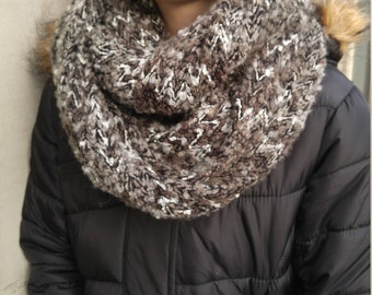 Gray and Black Infinity Scarf, Knubby Fabric, Neutral Infinity Scarf, Black, Grey and White Winter Scarf, Soft Fabric,