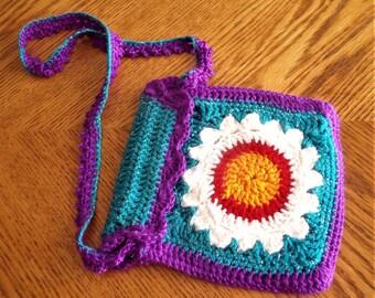 Kids crochet flower handbag