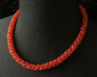 Glass - orange red beads necklace