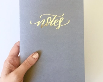 """Gold Foil """"Notes"""" Journal (Real Metallic Foil, Christmas Gift, Notebook, Grey, Gray)"""