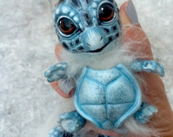 OOAK Squirtle Fantasy Creature  (Black/White) Custom Squirrel and Turtle inspired Soft body Aty Doll