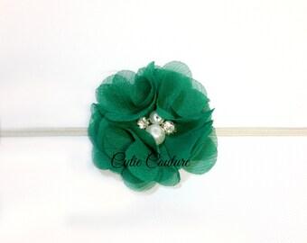 Green baby Headband, Green Headband, St Patrick's Day Headband, Emerald Headband, green birthday headband, green flower headband, green clip
