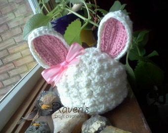 Bunny Rabbit Hat- MADE to ORDER- Easter, Spring, photo prop