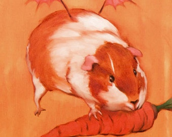 Gluttony - winged demon guinea pig with carrot - 8 x 10 art print of an oil painting
