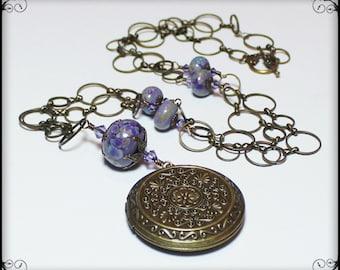 Handmade Necklace, Beaded, Lampwork, Crystal, Antique Brass, Lavender, Blue, Green, Artisan, Lampwork Necklace, Flower, Leaf, Leaves, Locket