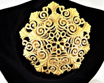 Large Monet Filigree Brooch, Gold Tone, Statement Brooch, Vintage Jewelry Brooch