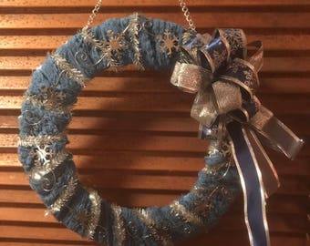 "12"" blue & silver Winter wreath"