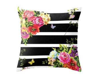 Bright Florals with Stripes Accent Pillow Cover - Throw Pillows - Decorative Pillows