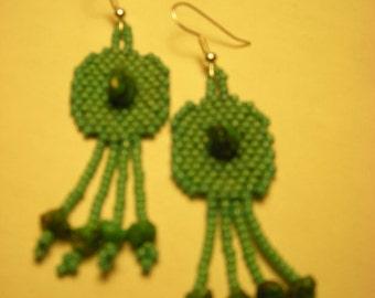 Turquoise on Beaded Turquoise Earrings