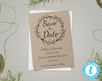 Rustic save the date etsy rustic save the date template save the date card rustic wedding template printable junglespirit Choice Image