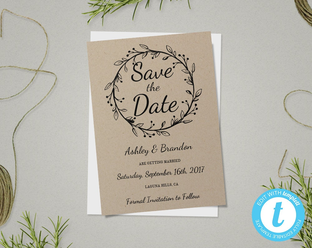 Save the date template floral diy save the date card rustic save the date template save the date card rustic wedding template printable junglespirit Gallery