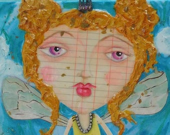 Honey Bee Big Eyed Girl Original Painting on Canvas 8X10