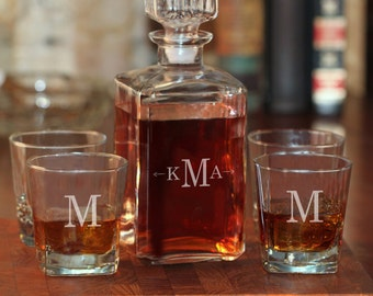 Engraved Whiskey Glasses and Decanter Set | Whiskey Decanter & 4 Personalized Rocks Glasses | Gifts for Men Groomsmen | Free Personalization