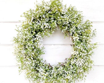 New 2018-Baby's Breath Wreath-Farmhouse Decor-Wedding Decor-Gypsophila -Cottage Decor- Vintage Farmhouse Wreath-Wedding Wreath- White Wreath