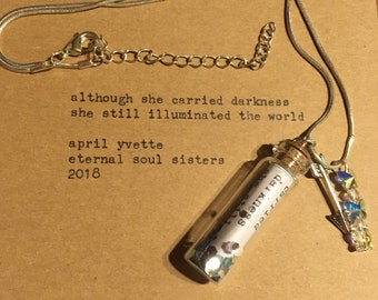 Message in a bottle poetry necklace - free shipping