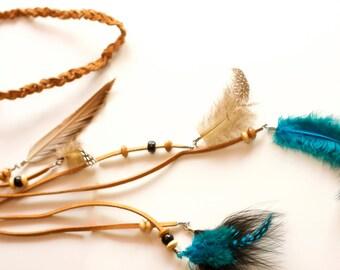 Feather headband, Boho Headband,handmade feather head piece, native american indian headdress, boho hippie tribal jewelry, Gift, For Her