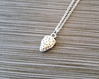 Silver Strawberry Necklace - Strawberry Charm Pendant - Personalized Necklace - Custom Gift - Initial Necklace - Personalized Gift - Berry