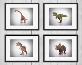 Set of 4 dinosaurs prints, boys room decor, kids room decor, dinosaur decor, dinosaur print, dinosaur art prints, dinosaur wall art