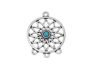 charm 3 connector holes silvery-blue Dreamcatcher (B75)