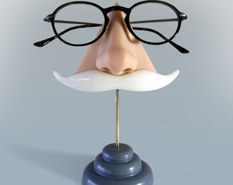 Nose Eyeglass Stand, White Moustache Key Hooks, father gift, Desktop Organizer, Geeky Accessory, Grandfather