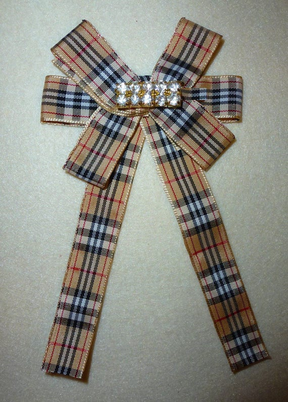 Becky Bows ~ Scottish berry tan red black plaid collar lapel pin bow large long pinback suit bow