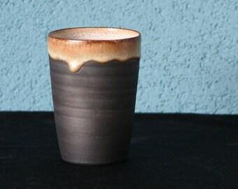 Wheelthrown stoneware mug in a matte black glaze
