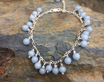 Angelite and Sterling Silver Bracelet