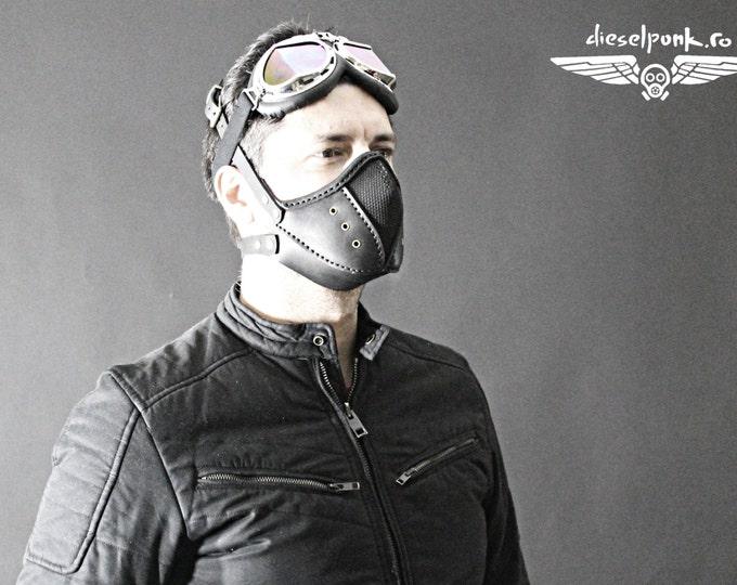 Steampunk Mask - Leather Mask - Burning Man - Halloween Mask - Mouth Mask - LARP - Cyberpunk mask - cosplay - post apocalyptic - gas mask