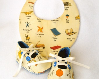 Baby Shoes, Hand Sewn Boys, Cotton Vintage Toy Print,  Hand Stitched Bootie and Bib Set,  Dime Store Toy Box Print