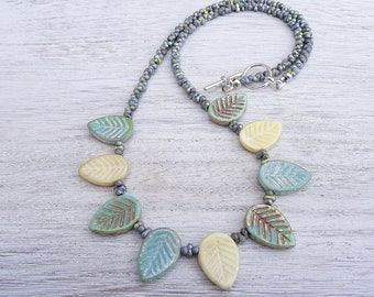Leaf Necklace, Czech Glass Necklace,Green Necklace, Cream Necklace, Grey Necklace, Bohemian Jewellery, Unique Jewellery, Handmade Necklace.