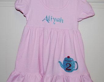 Birthday dress,Tea party dress, Girls dress with name, Ruffle dress, Tea pot dress, Custom dress, Monogrammed birthday dress,