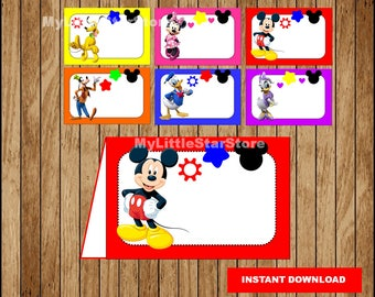Mickey Mouse Food labels, Printable Mickey Mouse Food tent cards, Mickey Mouse party Food labels Instant download