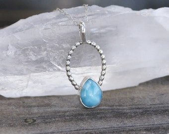 Larimar Necklace, Sterling Silver, Artisan Pendant