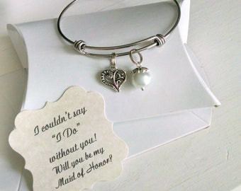 Bridesmaid Bracelet, Maid of Honor Gift, Maid of Honor Proposal, Matron Of Honor Gift, Asking Bridesmaids, Wedding Party Gift, Pearl Bangle