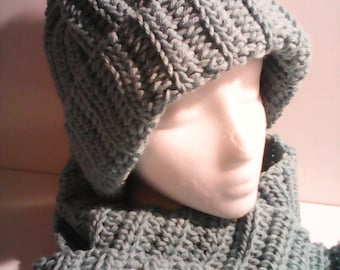 Adult Scarf and Hat Set Sage Green