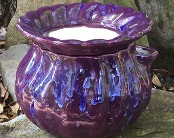 African Violet pot, fluted, purple, drippy, cobalt, self watering, modern, Violet pot