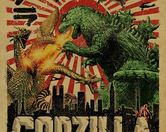 Godzilla vs Mothra and Ghidorah poster. 12 x18 on kraft paper. Art. Cult movie classic. Vintage sci-fi. Japanese. Tokyo. Knoxville.