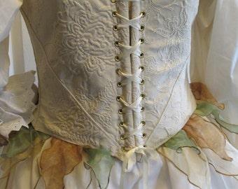 DDNJ Reversible Demi Corset w/Fairy Wisps Choose Fabrics Plus Custom Made ANY Size Renaissance Fae Elven Anime Wedding Kawaii Wench Costume