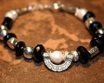 Romanische Onyx und Sterling Armband